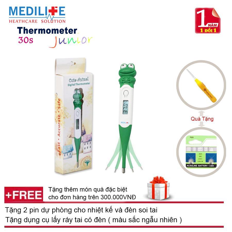 Nhiệt kế điện tử đầu mềm cao cấp Medilife Junior Frog + Tặng dụng cụ lấy ráy tai có đèn và tặng thêm 2 pin dự phòng cho nhiệt kế và đèn soi tai nhập khẩu