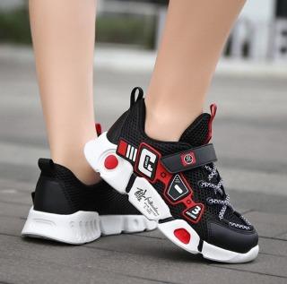 Giày sneaker bé trai đen đỏ siêu nhẹ cao cấp , thoáng khí - GBT85 thumbnail