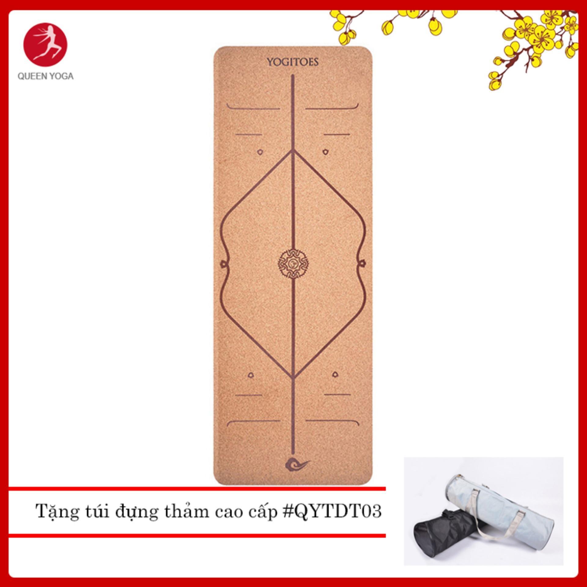 Thảm tập Yoga định tuyến gỗ bần Yogitoes - Tặng túi đựng thảm chóng nước cao cấp thiết kế riêng