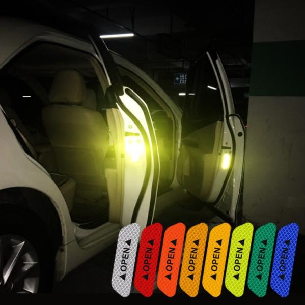 Bộ 4 tấm decal OPEN THẾ HỆ MỚI 5 màu dán cửa xe hơi ô tô cảnh báo cửa đang mở tránh va chạm