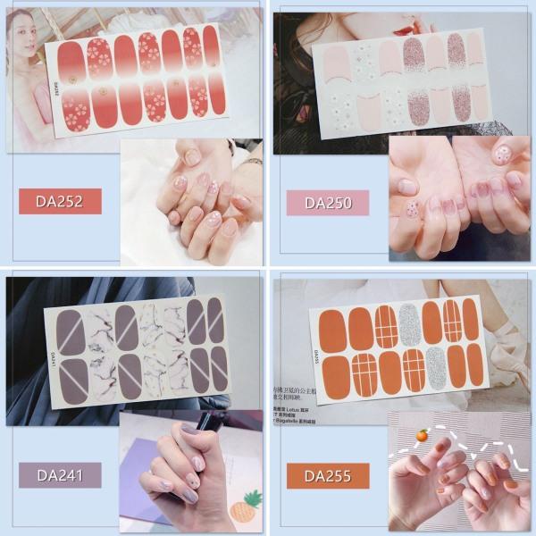 Bộ nail sticker 14 miếng dán móng tay trang trí 3D DA241-DA260 xinh xắn chống thấm nước cao cấp