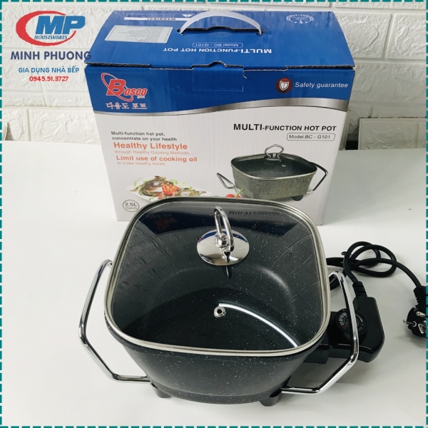 Chảo lẩu điện chảo điện chất lượng cao Bosco BC G101 mini 2.5 lít Bảo hành 12 tháng Hàng Công ty
