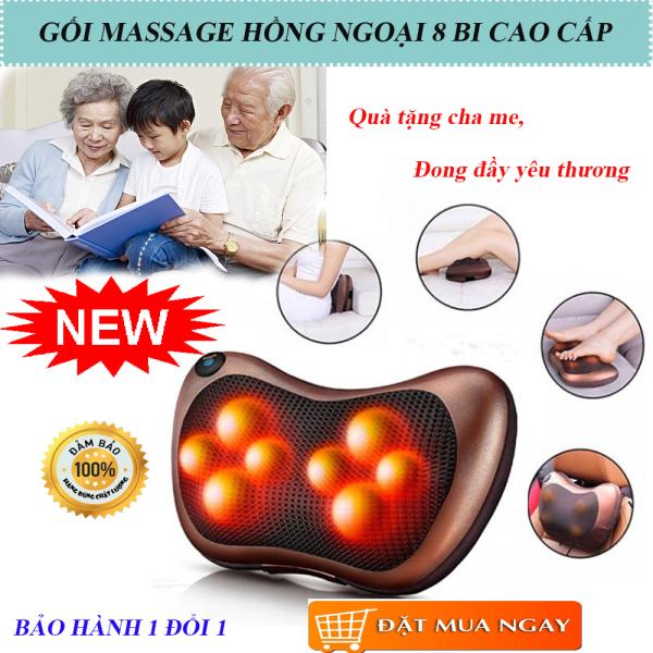 Gối massage toàn thân, Gối massage hồng ngoại 8 bi, gối massage cao cấp. Thiết kế nhỏ gọn, Đảo 2 Chiều Giúp Giảm Căng Cơ, Tăng Cường Lưu Thông Máu, Khí Huyết. BH 1 đổi 1. MUA NGAY!!!