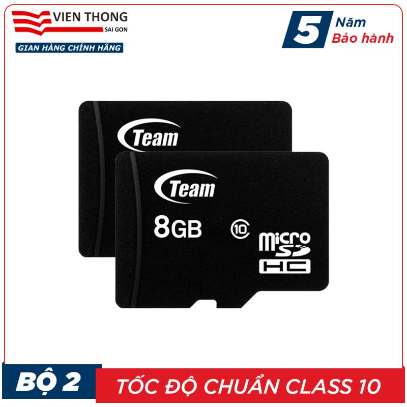 Bộ 2 Thẻ nhớ 8GB micro SDHC Team Class 10 (Đen) - Hãng phân phối chính thức