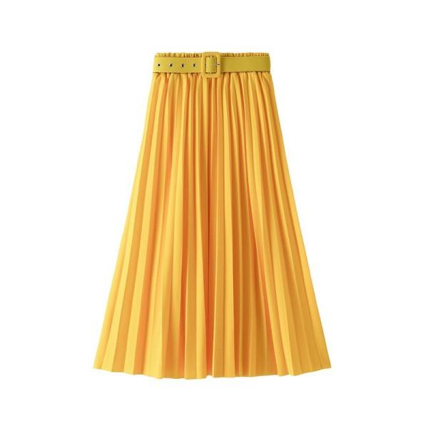 Chân váy xếp ly dáng dài phong cách hàn Quốc ( kèm Đai)