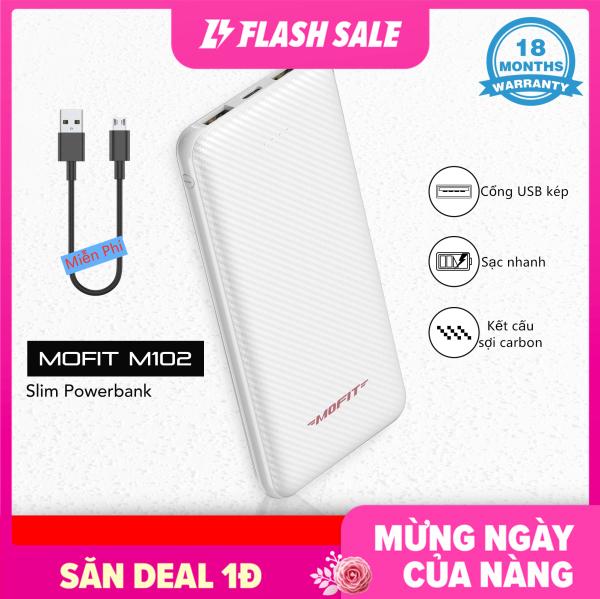 [Siêu Sale][Hàng Quốc tế] Pin sạc nhanh dự phòng Mofit M102 10000mAh với đầu ra USB kép