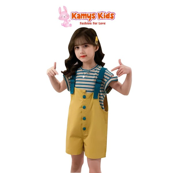 Nơi bán Bộ Quần Yếm Áo Cộc Tay Trẻ Em Kamys Kids Dễ Thương Cho Bé Gái Từ 15-40Kg