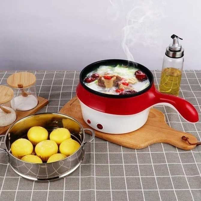 Ca nấu mì có lồng hấp 18cm, Ca điện mini nấu lẩu, nấu mì siêu tốc, Nồi lẩu cầm tay mini