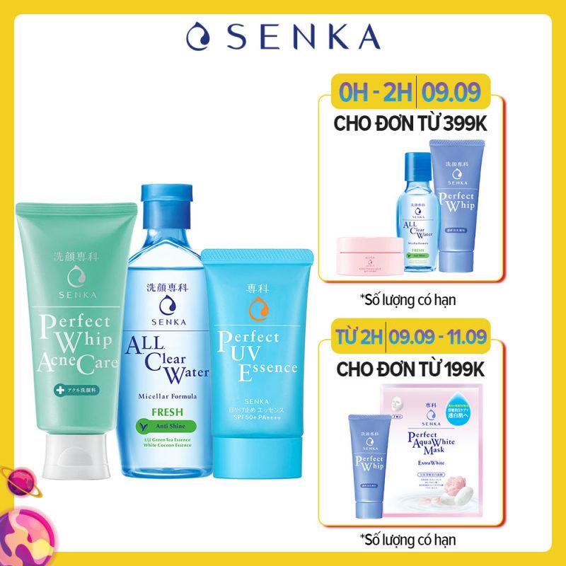 Bộ sản phẩm Senka làm sạch và chống nắng dành cho da mụn giá rẻ