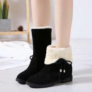 Boot nữ da lộn - Bốt nữ độn đế 3cm  - Boot nữ đi được 2 kiểu dáng  cổ cao và bẻ cổ - Giày bốt nữ lót lông mùa đông