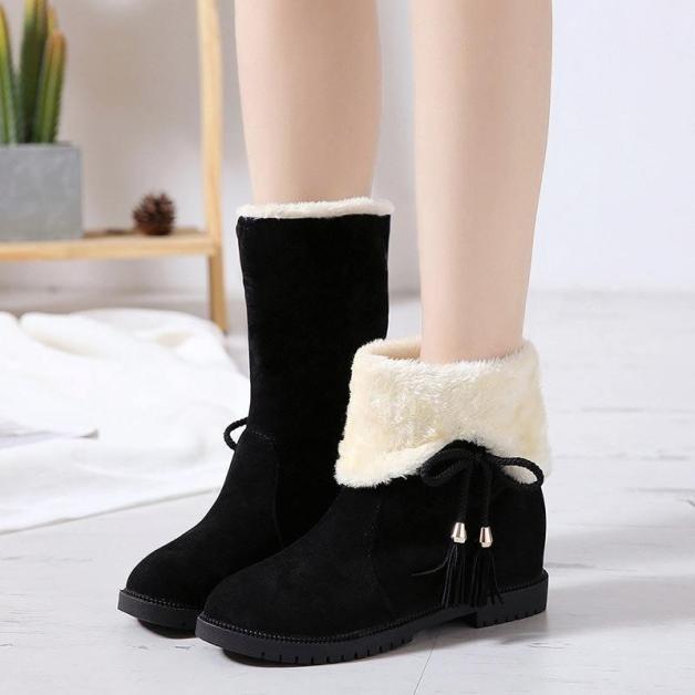 Boot nữ da lộn - Bốt nữ độn đế 3cm  - Boot nữ đi được 2 kiểu dáng  cổ cao và bẻ cổ - Giày bốt nữ lót lông mùa đông giá rẻ