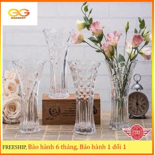 Lọ hoa, Bình bông thủy tinh trong suốt, hoa văn đặc sắc, lọ hoa để bàn, trang trí nhà cửa thumbnail