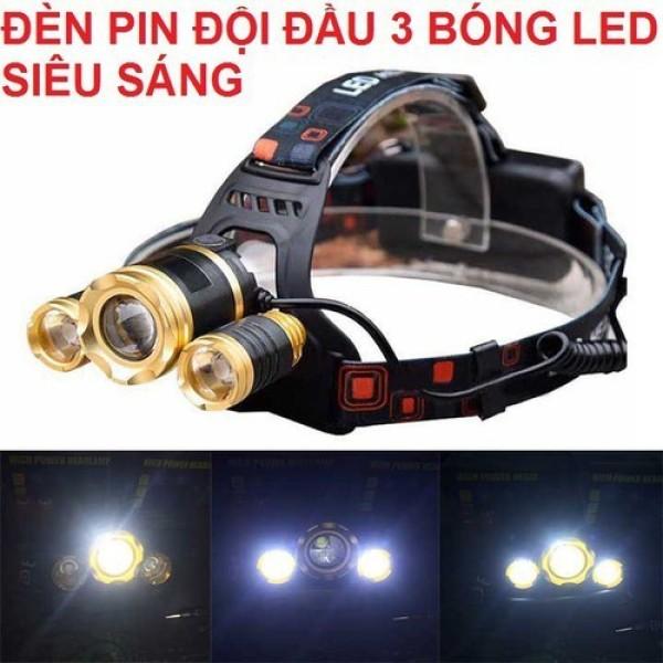 [Free ship] Đèn pin đội đầu 3 bóng siêu sáng