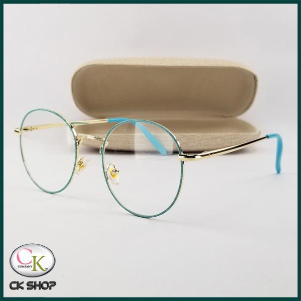 Giá bán Gọng kính cận nam nữ mắt tròn kim lại 3126 màu vàng, xanh, bạc, đen. Tròng kính giả cận 0 độ chống ánh sáng xanh, chống nắng và tia UV (Tia cực tím)