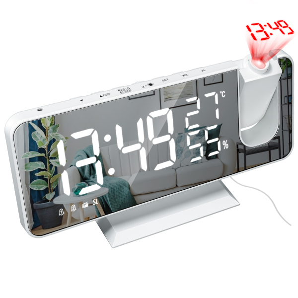 LED Digital Alarm Clock Watch Table Electronic Desktop Clocks USB Wake Up FM Radio Time Projector Snooze Function Alarm Clock bán chạy