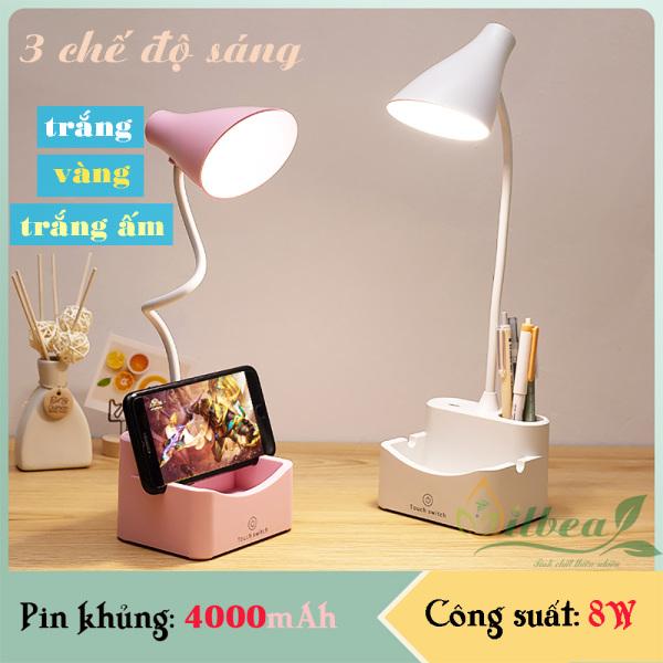 Đèn bàn học để bàn sạc pin sạc tích điện chống cận SL-878 pin 4000mAh ánh sáng vàng trắng điều chỉnh được độ sáng
