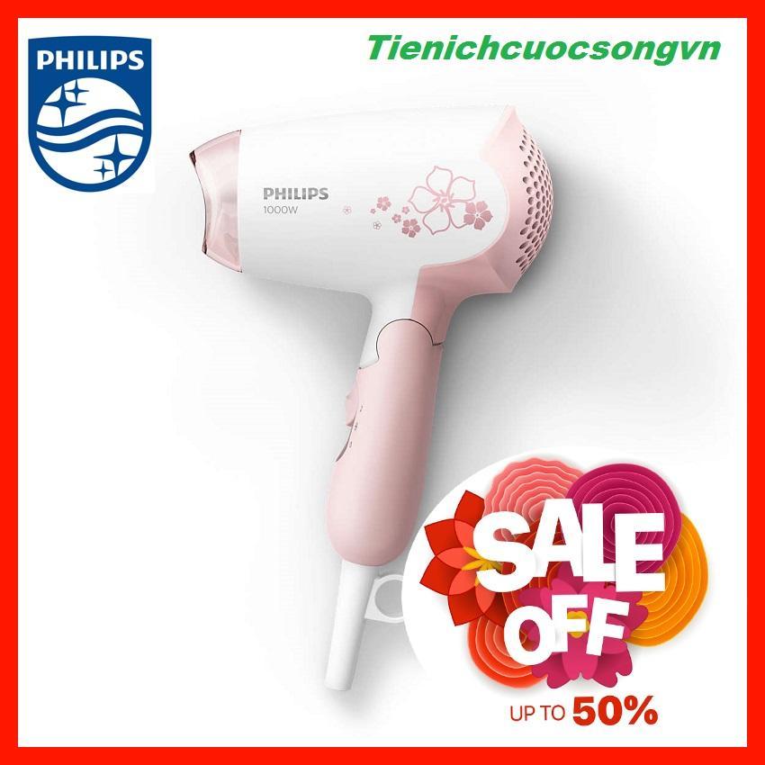 Máy sấy tóc Philips HP8108, 1000W, chế độ sấy mát để sấy tóc thật nhẹ nhàng, dây dài 1,5 mét cho sự linh hoạt tối đa, tay cầm có thể gập lại để giúp bạn dễ dàng mang theo