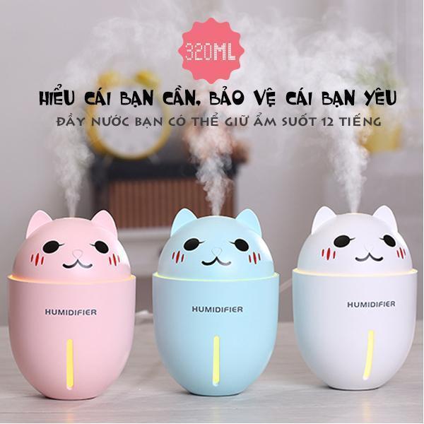 (NEW) Máy phun sương tạo ẩm hình thú cao cấp 3in1 hình con mèo - kết hợp quạt và đèn ngủ - LOẠI TỐT NHẤT