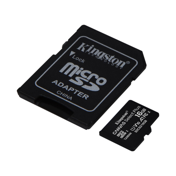 Thẻ Nhớ MicroSDHC Kingston Canvas Select Plus 16GB Class 10 U1 100MB/s SDCS2/16GB (Kèm Adapter)