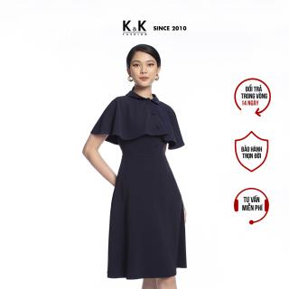 Đầm Công Sở Nữ Dáng Chữ A K&K Fashion KK105-14 Xanh Đen Kèm Áo Khoác thumbnail