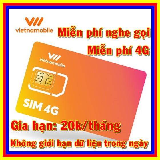 Giá Thánh sim 4G Vietnamobile mới Miễn phí DATA không giới hạn + Nghe Gọi Và Nhắn Tin Nội Mạng Miễn Phí - Phí duy trì 20k/tháng - Shop Sim Giá Rẻ