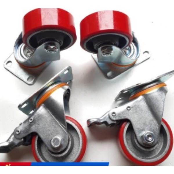 4 Bánh xe PU đúc, càng xoay có khóa 100mm, chất lượng cao