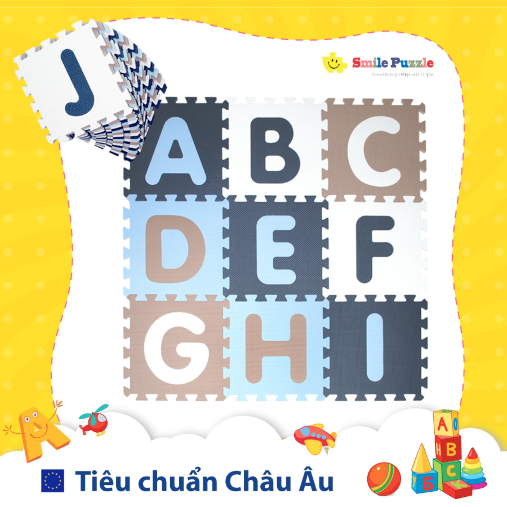 Thảm xốp cho bé - chữ cái Pastel (26 miếng, diện tích 2.4m2) Smile Puzzle Nhật Bản