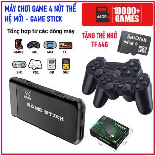 [Tặng Kèm Thẻ Nhớ 64G]- Bộ Game Stick, Máy chơi gamer 4 nút PS10000 4K Ultra Hd, máy chơi game, máy chơi geme điện tử hỗ trợ CPS SFC FC GBA GB GBC MD PS1.. thumbnail
