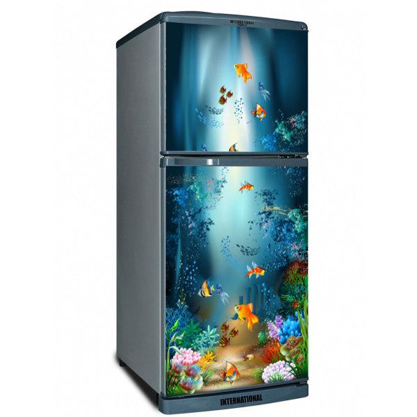Decal dán trang trí tủ lạnh siêu đẹp Đàn Cá. Decal in trên chất liệu PVC, có keo sẵn ở mặt sau, chỉ cần lột ra và dán.