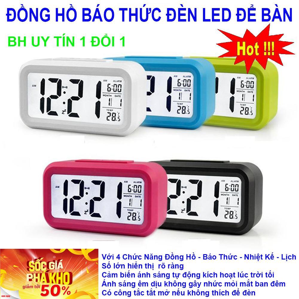 Dong ho led, Dong ho de ban,Đồng Hồ LCD Led Để Bàn HD51 Thông minh Tích hợp 4 chức năng , đồng hồ, đồng hồ báo thức, nhiệt kế, lịch, Thiết Kế Bắt Mắt,Nhỏ Gọn Dễ Dàng Sử Dụng BH 1 đổi 1 bán chạy