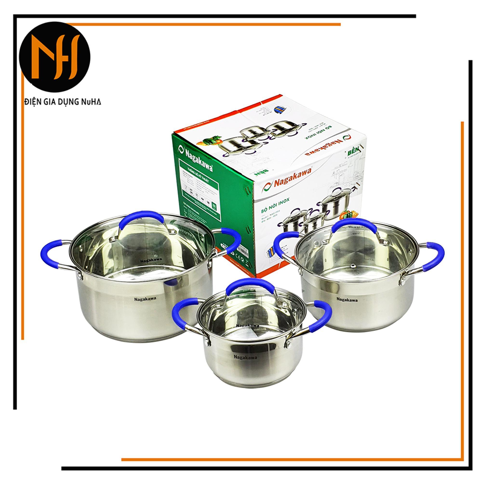 Bộ nồi inox 5 đáy từ Nagakawa NAG1302 quai núm silicon cách nhiệt gồm 3 chiếc (16-20-24cm) sử dụng được trên bếp điện từ