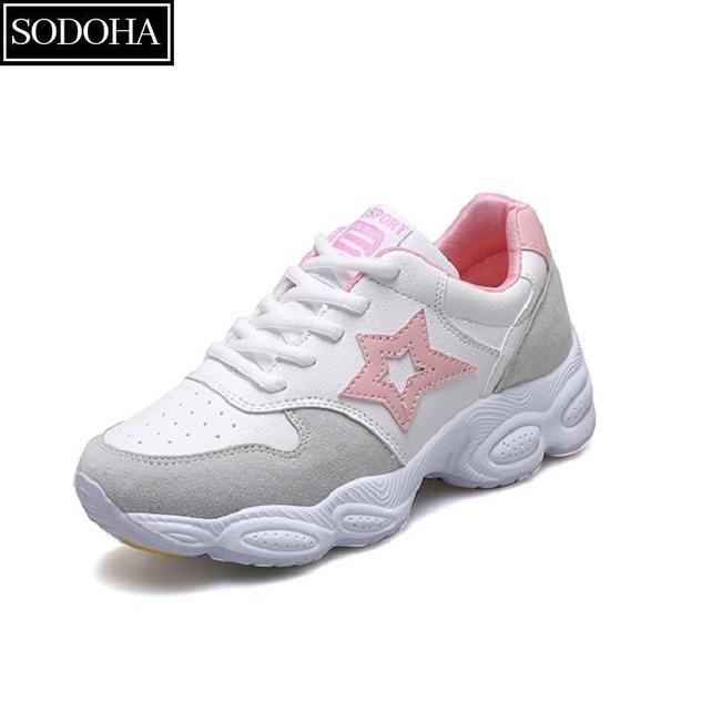 Giày Sneaker Thể Thao Mẫu Mới Siêu Hot Sodoha S9-V68P Trắng Phối Hồng