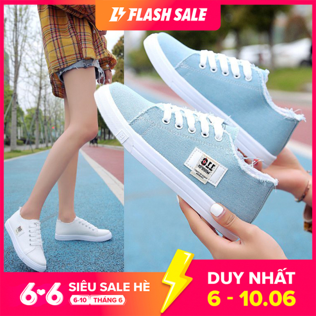ISS546 Giày vải nữ thiết kế đơn giản trẻ trung dành cho nữ sinh viên giá rẻ