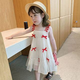 Zhihuida Váy Bé Gái 1-7 Tuổi, Váy Hai Dây Cotton Cho Bé Gái Váy Nơ Bé Gái Mùa Hè Váy Công Chúa Trẻ Em Đầm Có Dây Đeo Phong Cách Nước Ngoài Cho Bé Gái