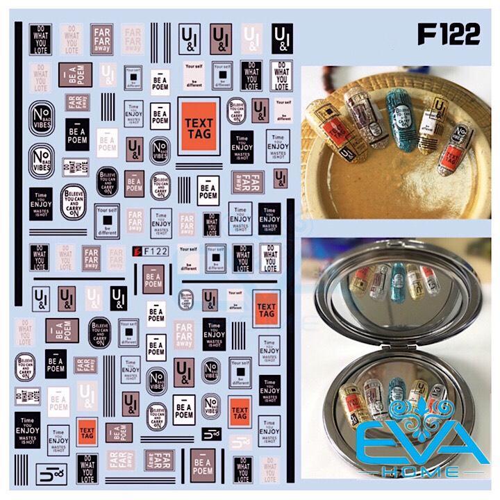 Miếng Dán Móng Tay 3D Nail Sticker Tráng Trí Hoa Văn Hoạ Tiết Chữ Viết Alphabet F122 tốt nhất