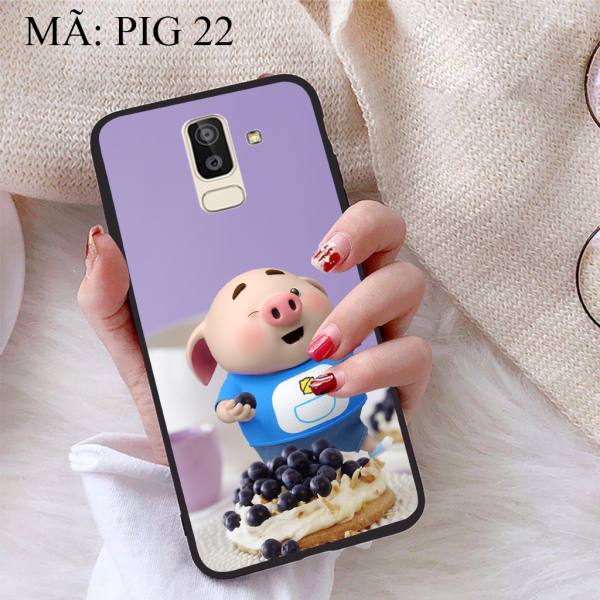 Ốp lưng iCase dành cho Samsung Galaxy J8 viền dẻo TPU BST Pig Cute