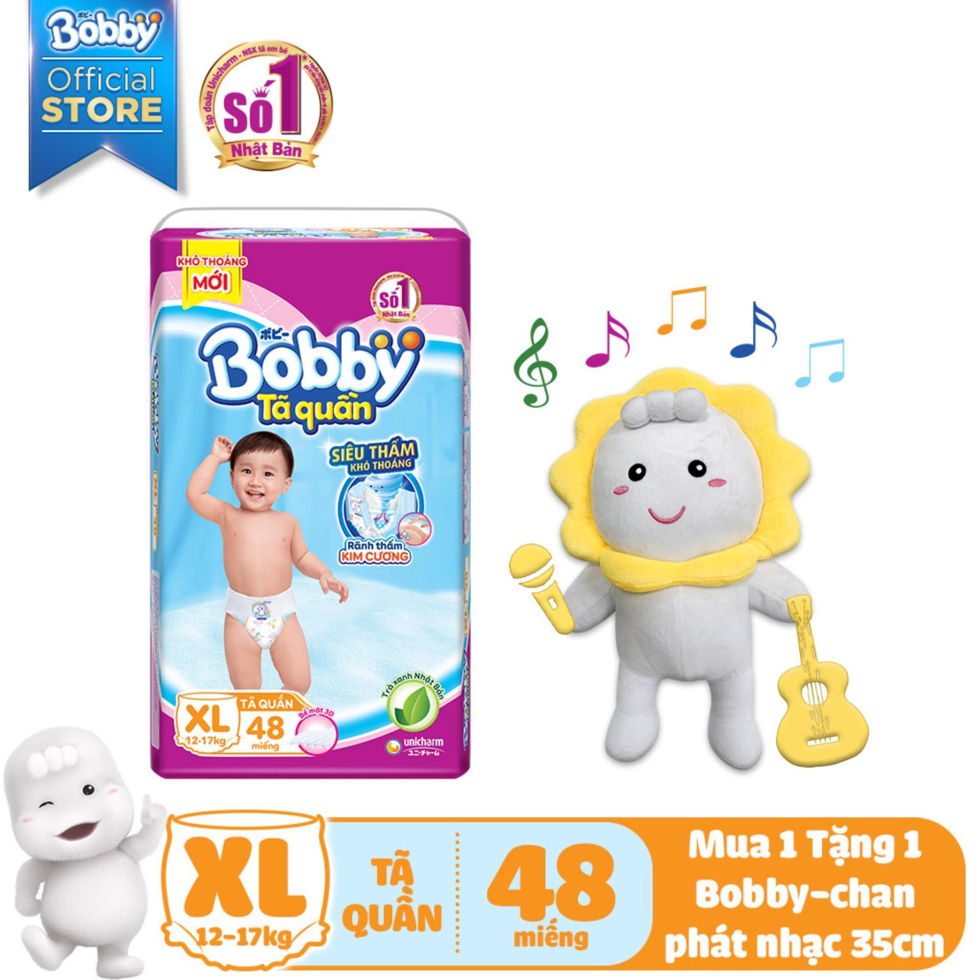 [KÈM QUÀ] Tã/Bỉm quần Bobby (hương trà xanh) gói siêu lớn XL-48 miếng (12 - 17kg) - Tặng Bobby-chan biết hát 35cm Nhật Bản
