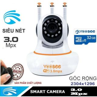 Camera Yoosee 3 Râu 3.0Mpx Độ Phân Giải 2K 2048 X 1556P Siêu Sắc Nét Tặng Thẻ Nhớ yoosee chính hãng 32G Hoặc 64G. Quan Sát Ngày Đêm Ghi Âm Ghi Hình Đàm Thoại 2 Chiều thumbnail