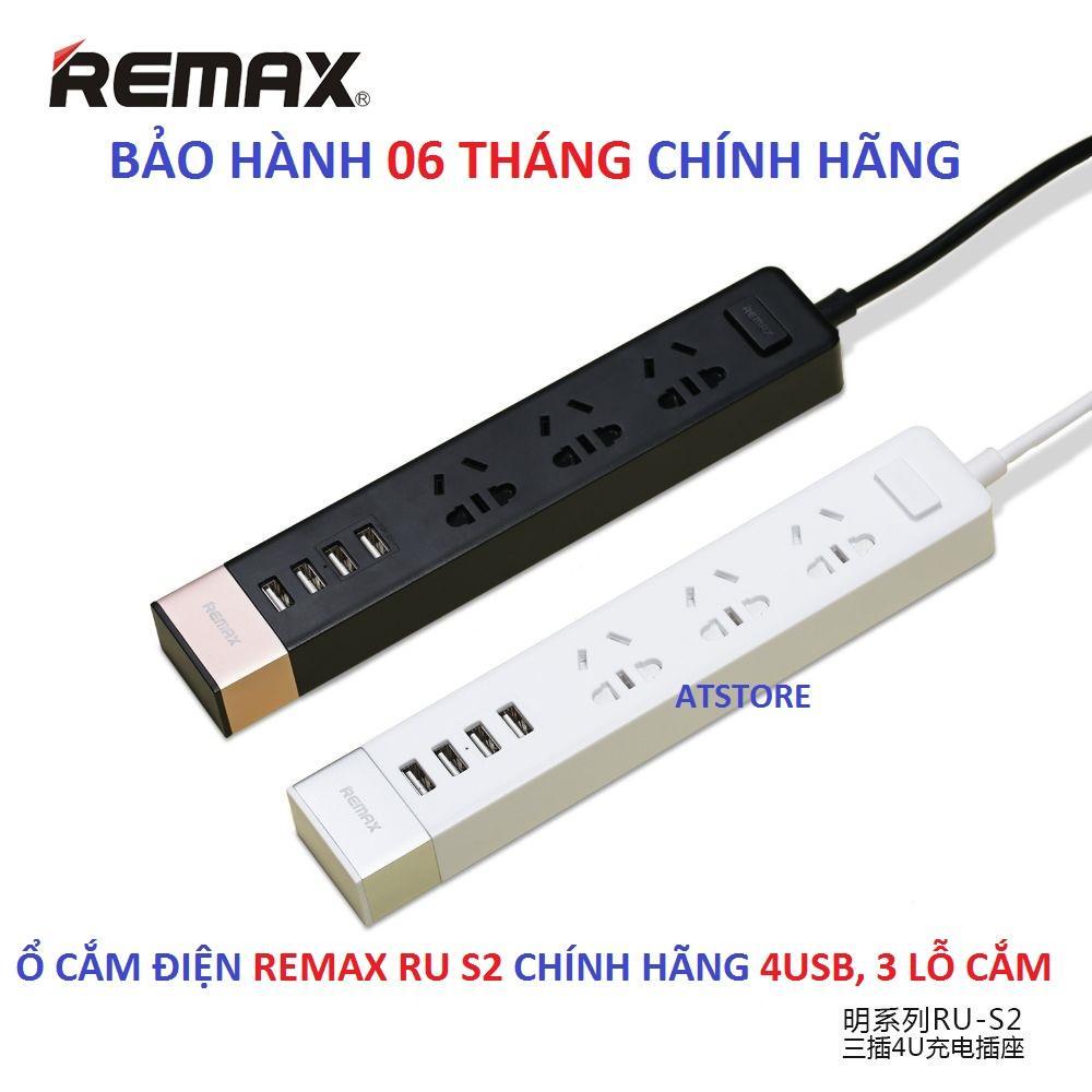 Ổ CẮM ĐIỆN REMAX RU S2 3 LỖ CẮM 4 CỔNG USB - BH 6T