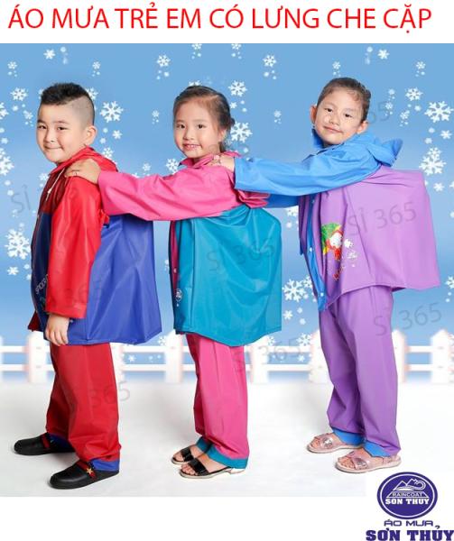Áo mưa cho bé, Áo mưa bộ, Bộ quần áo mưa có lưng che cặp trẻ em - Bảo vệ bé và cặp sách- Hàng công ty Sơn Thủy - Chất liệu PVC có độ bền cao, sang trọng