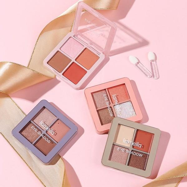 Bảng phấn mắt makeup nội địa trung 4 ô mini Lameila giá rẻ dưới 20k có nhiều tone màu,có nhũ kim tuyến