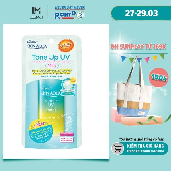 Sữa chống nắng nâng tông dành cho da dầu/hỗn hợp Sunplay Skin Aqua Tone Up UV Milk (Mint Green) (dành cho da sáng, có khuyết điểm đỏ) (50g