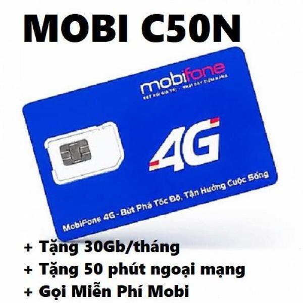 Sim 4G Mobifone C50N tặng 30GB/THÁNG - Ưu đãi Miễn phí 1GB/ngày (30GB/30 ngày). Miễn phí các cuộc gọi nội mạng dưới 20 phút ( Tối đa 1000 phút/tháng). Tặng 50 phút gọi liên mạng