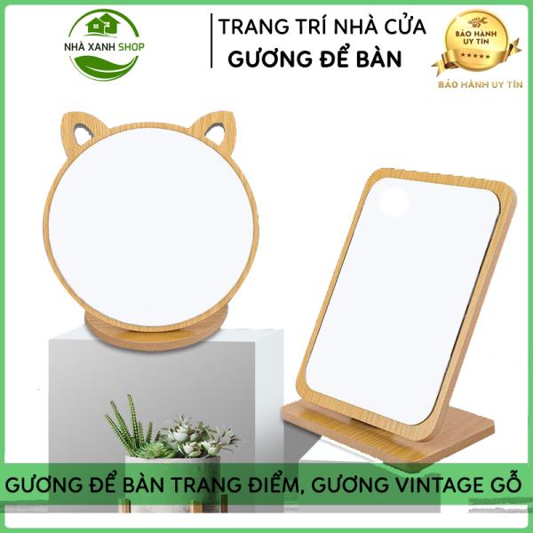 Gương Để Bàn Trang Điểm Gỗ, Gương VinTage, Gương Soi Trang Điểm Phong Cách Hàn Quốc, Gọn Nhẹ, Tiện Dụng