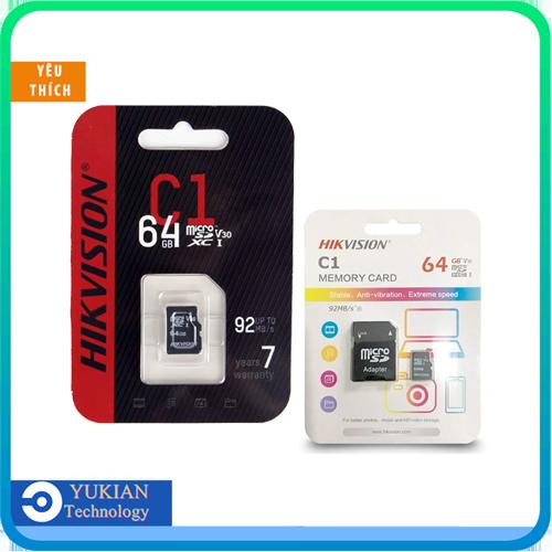 Thẻ nhớ HIKVISION 64GB CLASS 10 Chất Lượng Cao Chuyên dụng cho Camera WIFI EZVIZ, IMOU, KBONE, EBITCAM, XIAOMI Kèm Adapter - BẢO HÀNH 24 THÁNG
