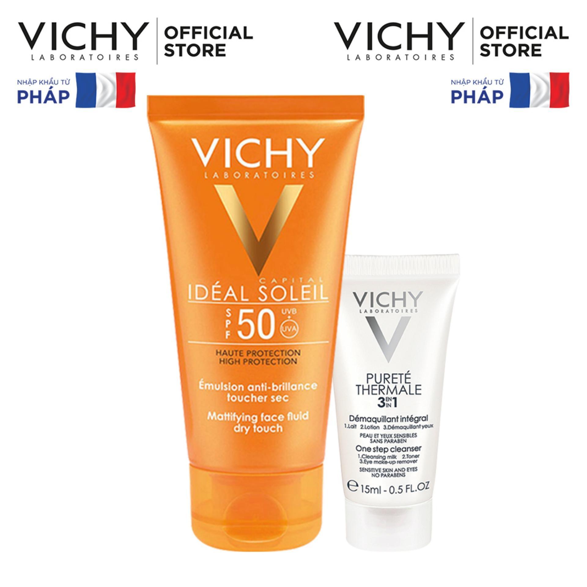 Bộ kem chống nắng không gây nhờn rít Vichy Ideal Soleil Dry touch 50ml & Sữa rửa mặt tẩy trang 3in1 15ml chính hãng