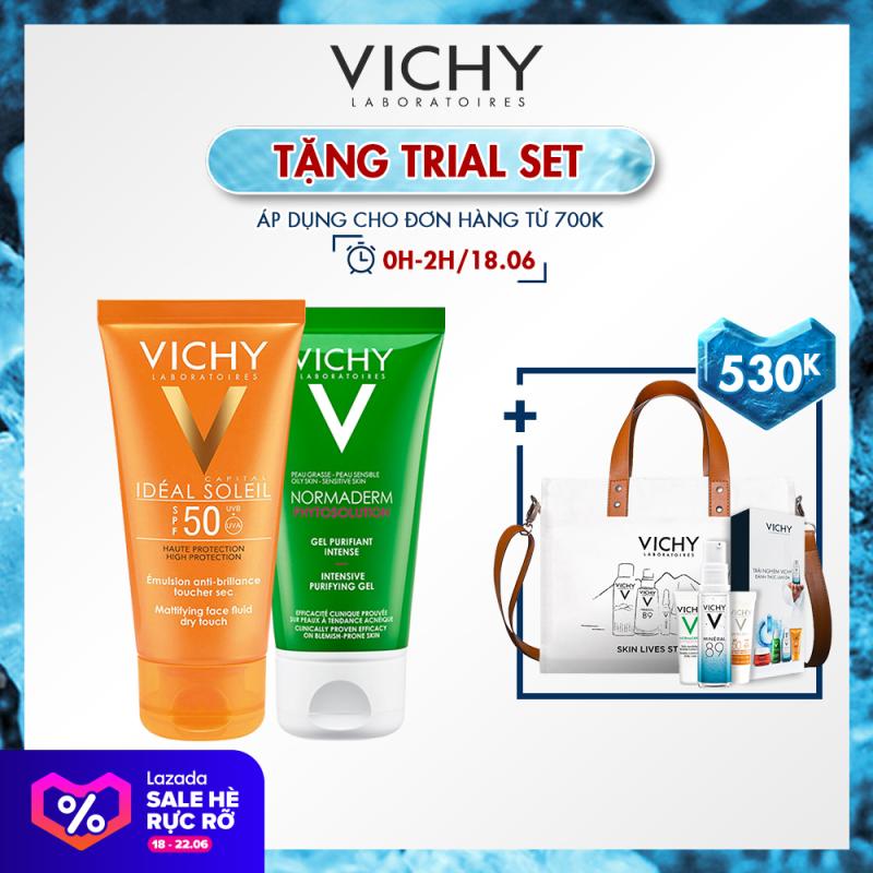 Bộ kem chống nắng không gây nhờn rít Vichy Ideal Soleil Dry touch 50ml và Gel rửa mặt Normaderm Phytosolution 50ml giá rẻ