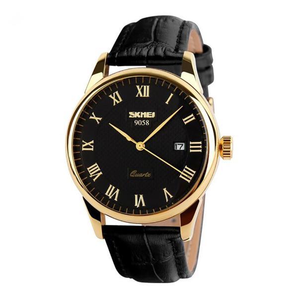 Đồng hồ nam dây da Skmei 9058 (Dây đen Mặt đen Viền vàng) bán chạy