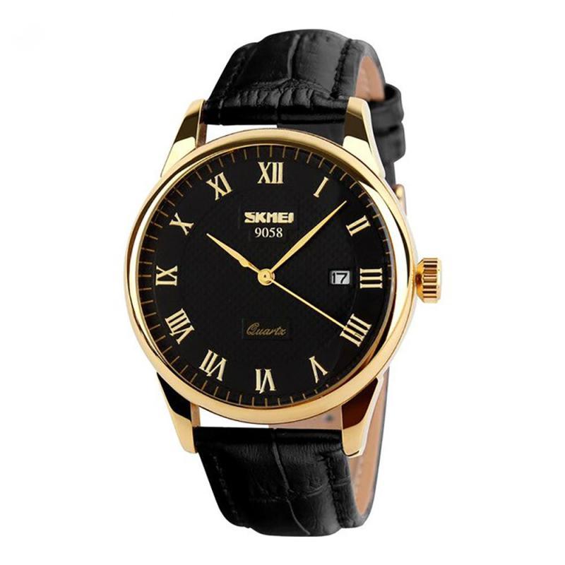 Đồng hồ nam dây da Skmei 9058 (Dây đen Mặt đen Viền vàng)