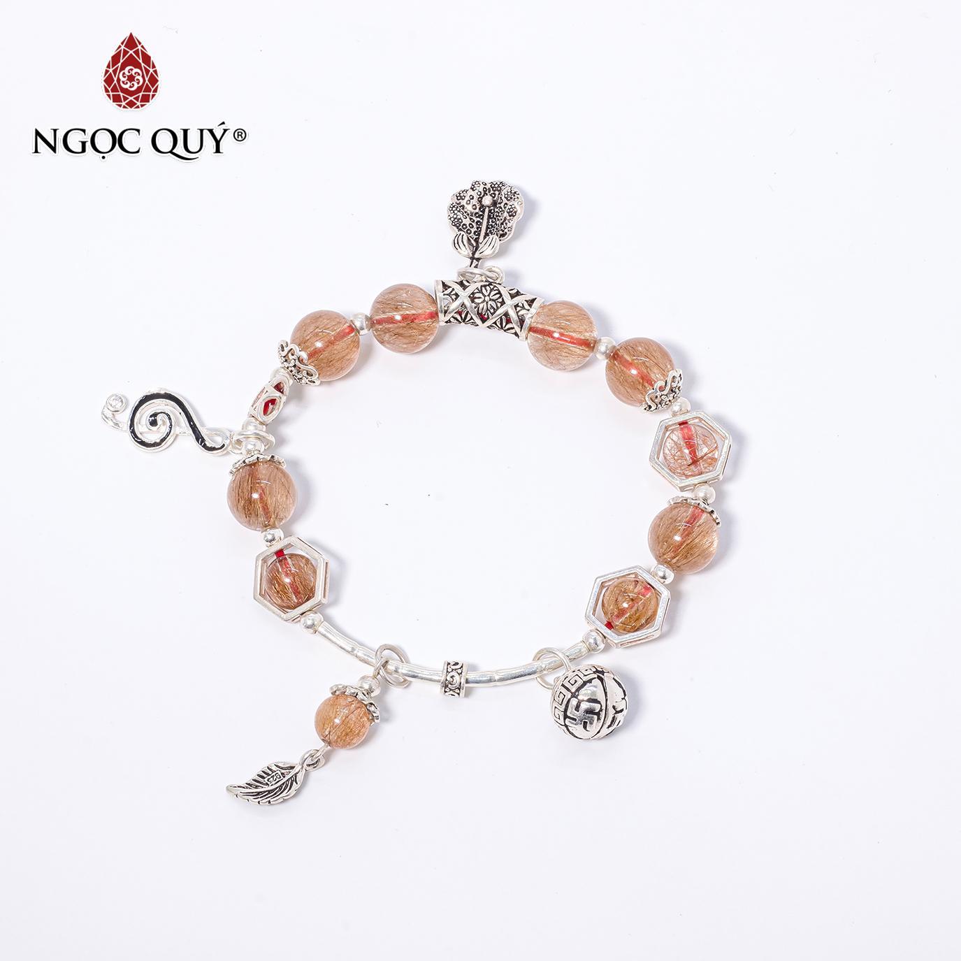 Vòng tay đá thạch anh tóc đỏ charm chuông bạc 10mm mệnh hỏa,thổ (màu đỏ) - Ngọc Quý Gemstones